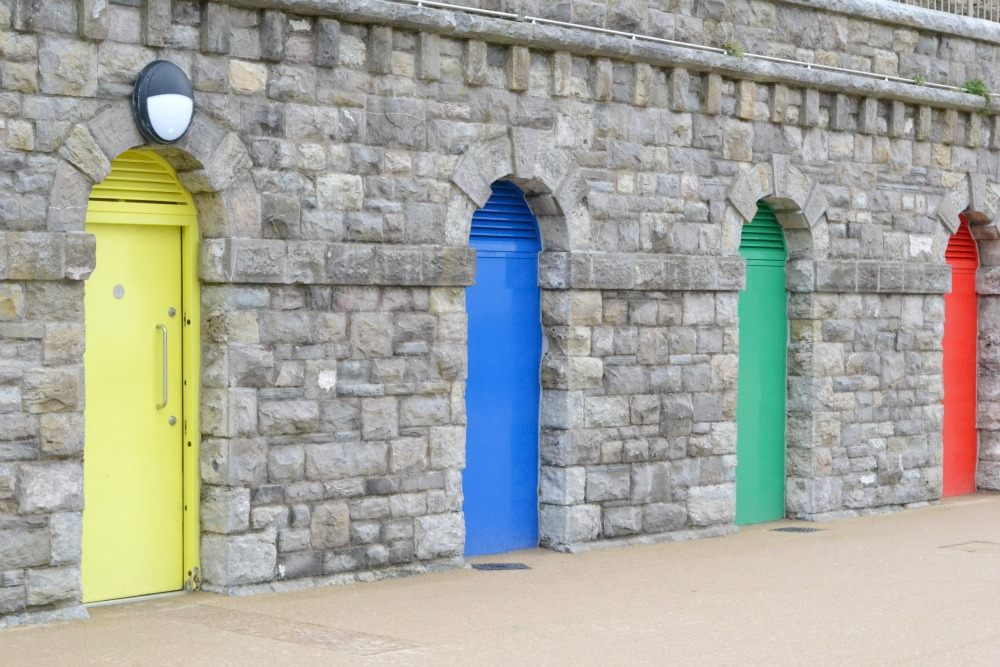 colourful doors barry island promenade wales