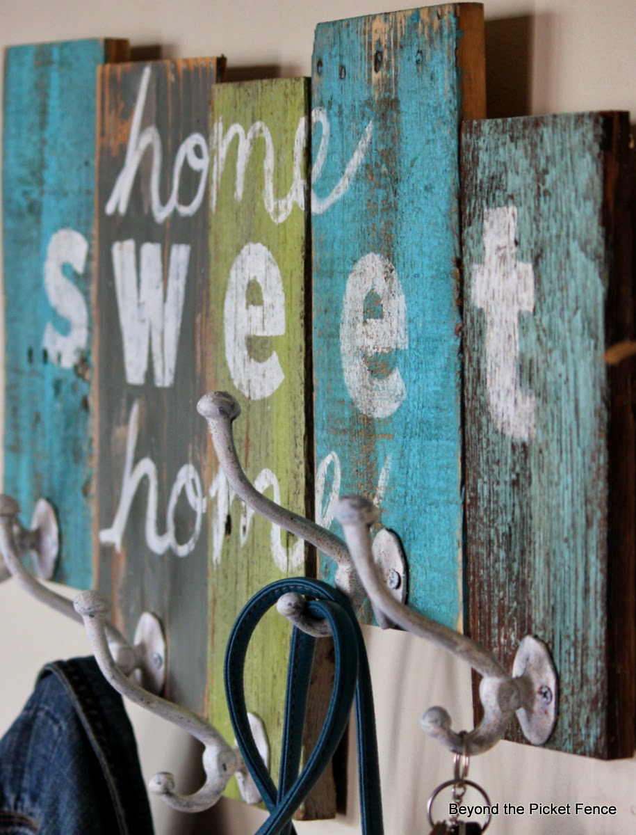 home sweet home reclaimed wood coat hook http://bec4-beyondthepicketfence.blogspot.com/2014/03/home-sweet-home-coat-hook.html