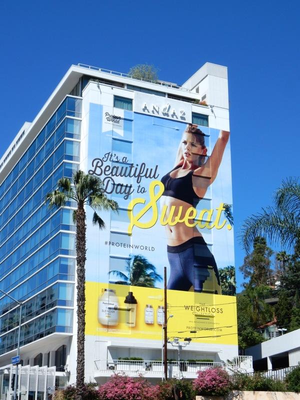 Giant Protein World beautiful day to sweat billboard