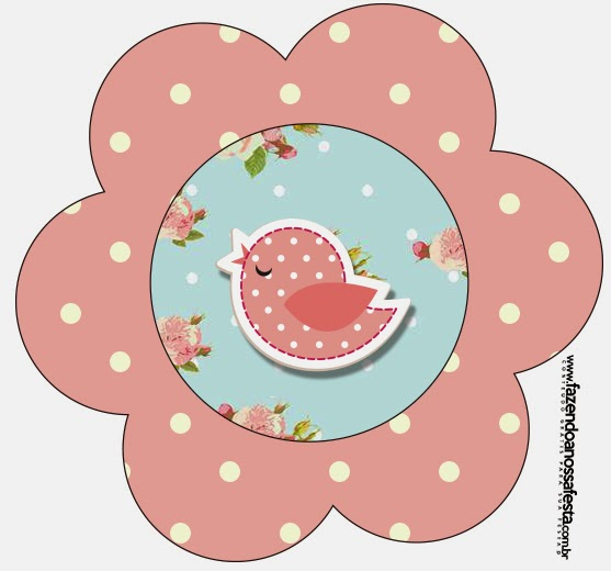 Tarjeta con forma de Flor de Pájaros y Mariposas.