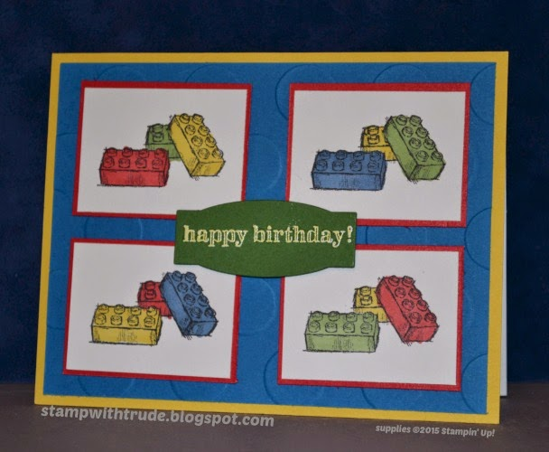Trude Thoman, Stampin' Up!, stamp with trude, Boys Will Be Boys, Lego style building blocks, Birthday card, masculine