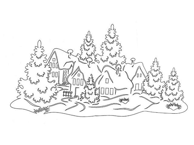 Gambar Mewarnai Pemandangan Musim Dingin - 2