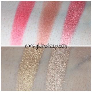 Swatches e Prime Impressioni Palette Becca Cosmetics colorazione