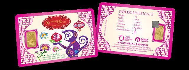 Gold Bar 1 g Edisi Year Of Monkey