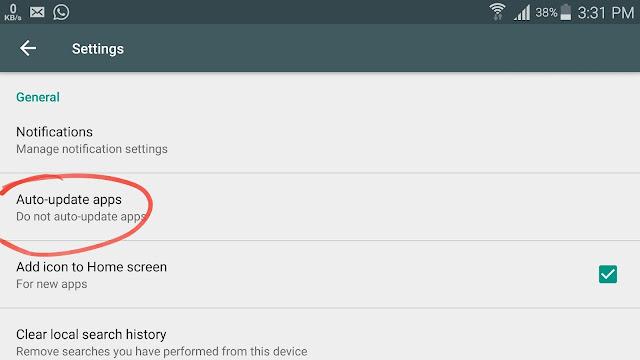 mematiakan auto update aplikasi Play  Store