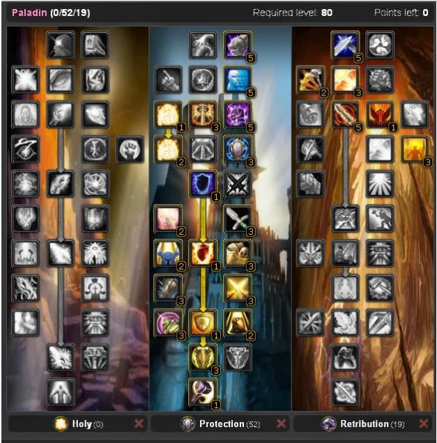 Wow Best Pvp Pve Talent Leveling Guide Paladin Protection Pve Tank Talent Tree 3 3 5a Glyphs