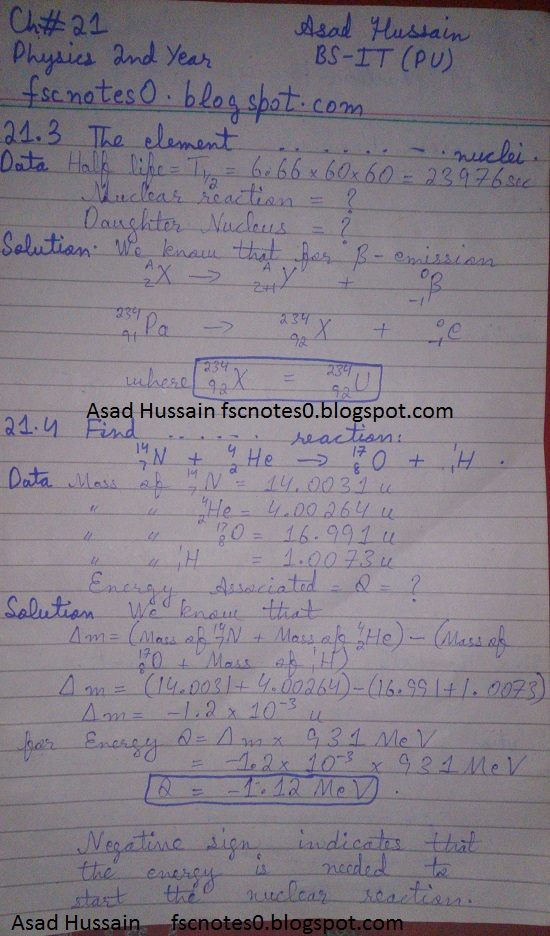 F.Sc ICS Notes: Physics XII: Chapter 21 Nuclear Physics Numerical Problems Asad Hussain 1