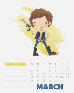 Calendario 2017 de Star Wars para Imprimir Gratis Marzo.