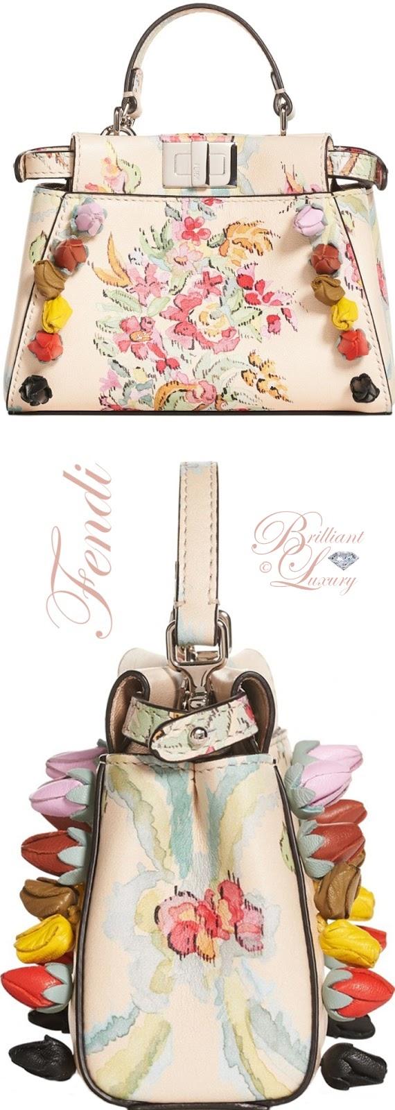 Brilliant Luxury  ♦Fendi Micro Peekaboo Floral Appliqué Leather Satchel