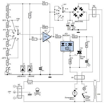 Simple Fridge Thermostat ~ Circuit Diagram and Electronic