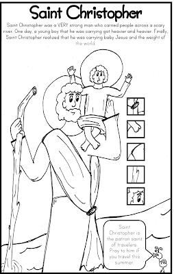 Saint Christopher Coloring Page Catholic Kids
