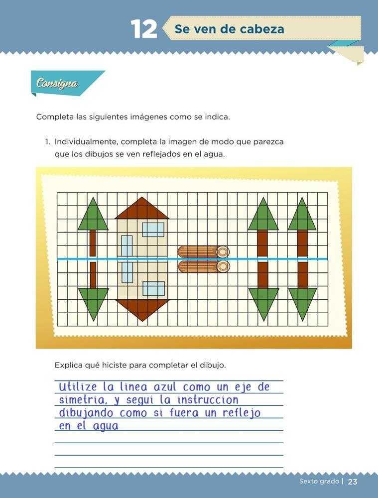 Libro de textoDesafíos MatemáticosSe ven de cabezaSexto gradoContestado