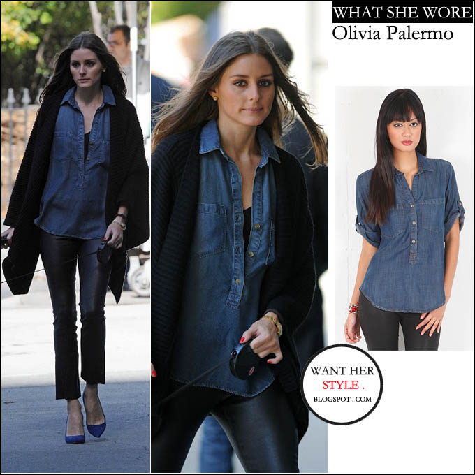 af31c84ebe WHAT SHE WORE  Olivia Palermo in blue button down denim shirt in New York ~  I want her style - What celebrities wore and where to buy it. Celebrity  Style