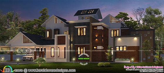 Beautiful night view 3d rendering of a modern contemporary house