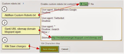 edit custom robots.txt blogger