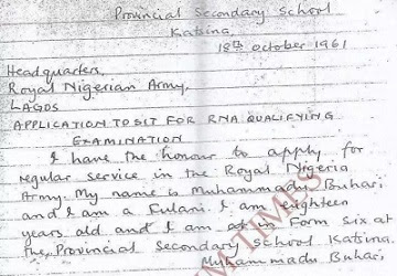 See Raw Copy Of Letter Written By President Buhari To Join The Nigerian Army At Age 18