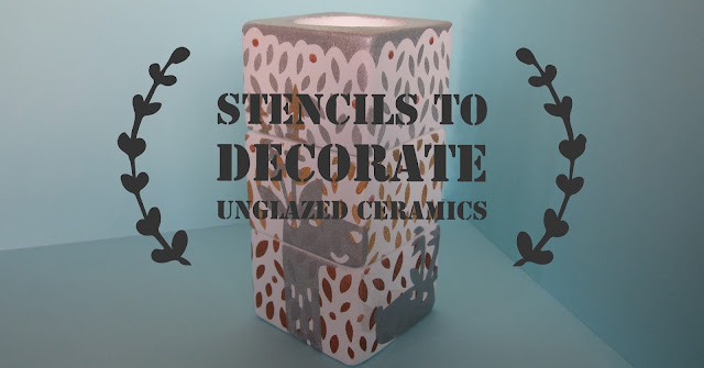 Cut stencils for decorating ceramic blanks with Silhouette Cameo by Janet Packer for Silhouette UK