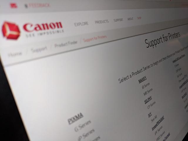 Página Canon para descargar driver de impresoras.