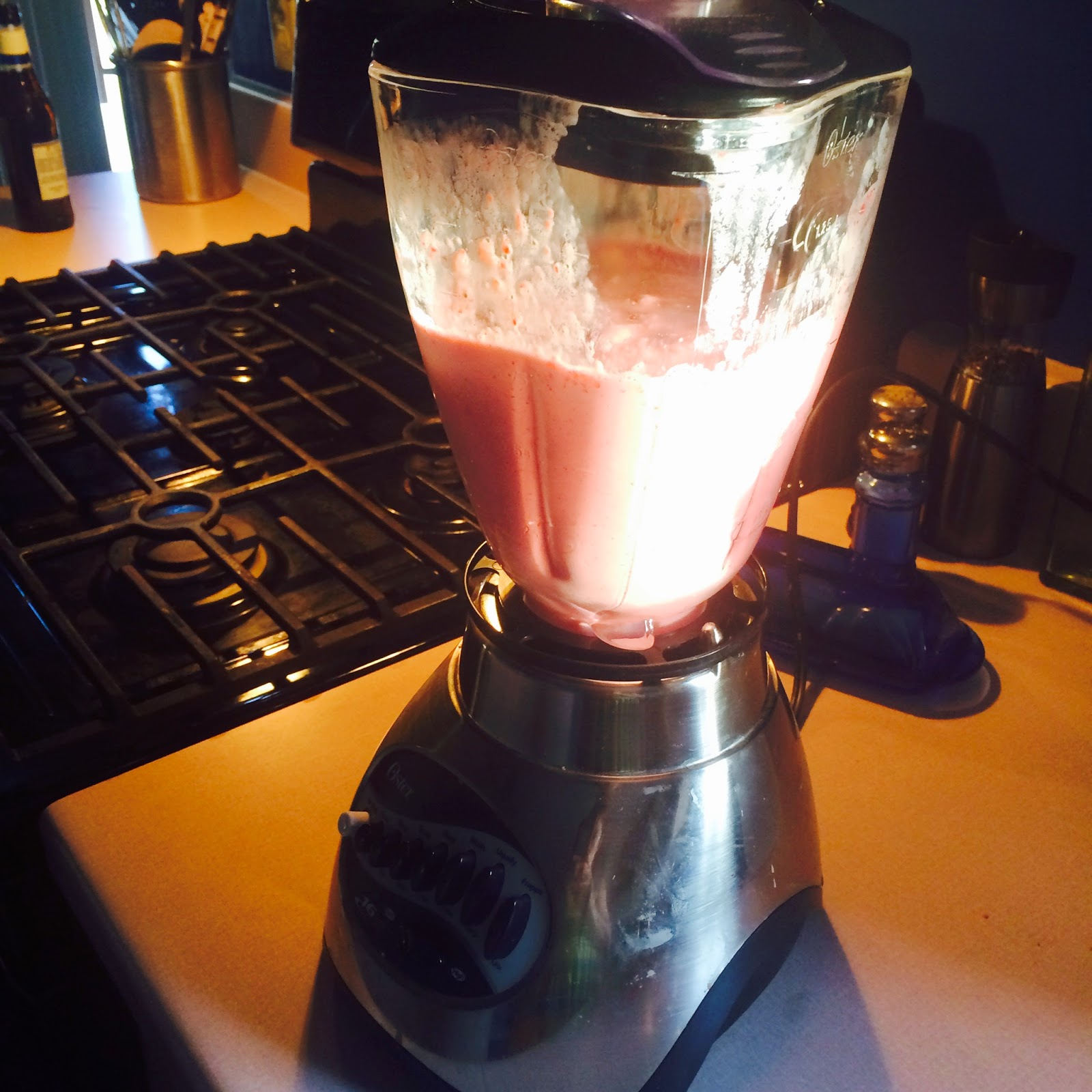 Blend ingredients until the strawberry milkshake is smooth.