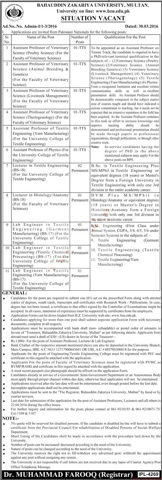 Teaching Faculty Jobs in BZU Multan Jobs