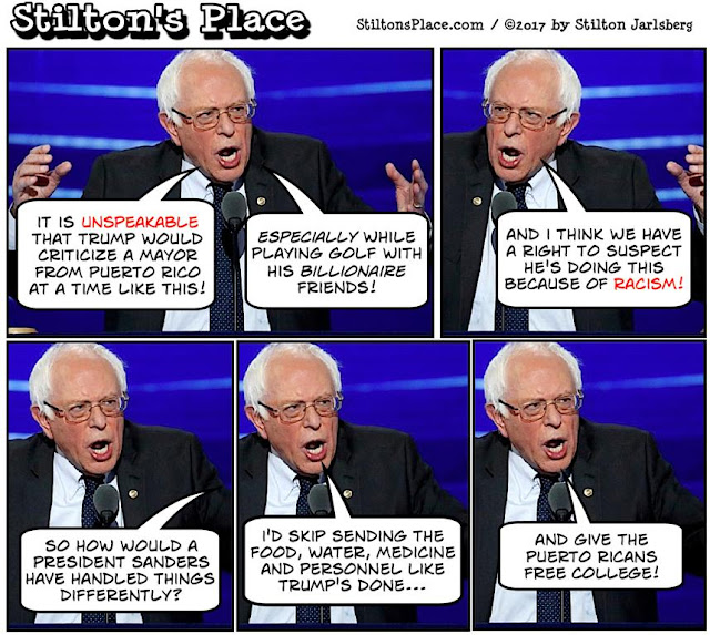 stilton's place, stilton, political, humor, conservative, cartoons, jokes, hope n' change, bernie sanders, puerto rico, mayor, aid, hurricane, relief