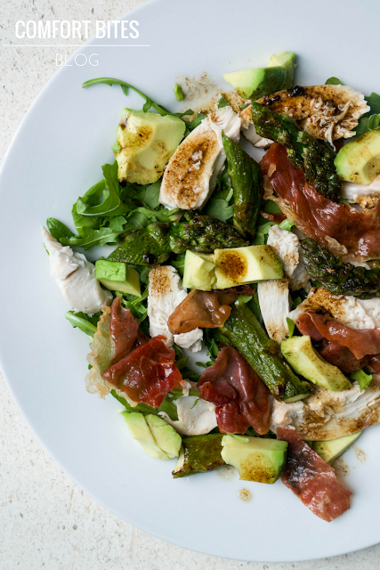 Warm chicken, asparagus and prosciutto salad with black garlic and lime dressing