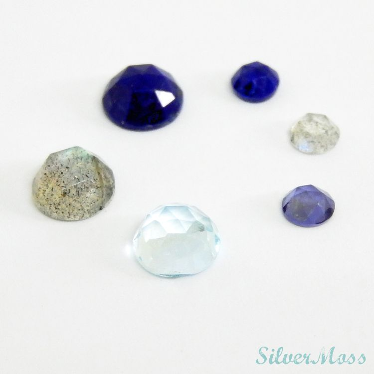 Rose Cut Cabochon Gemstones of Lapis lazuli, Labradorite, Iolite and Sky Blue Topaz in a circle