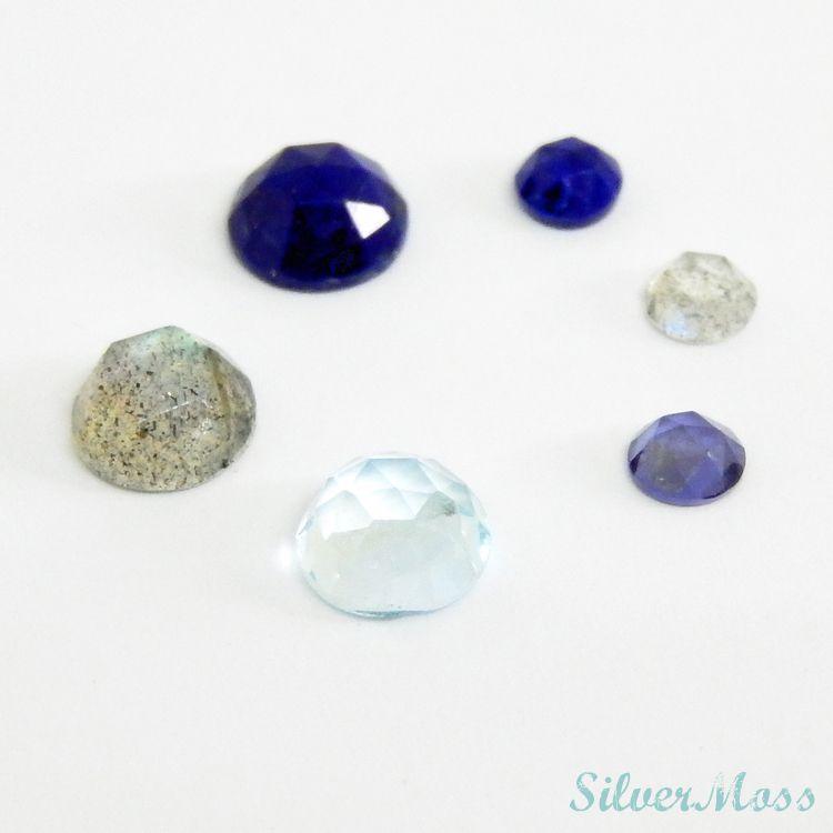 Rose Cut Cabochon Gemstones of Lapis lazuli, Labradorite, Iolite and Sky Blue Topaz in a circle