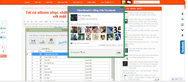 Popup likebox facebook page 10 giây cho blogspot