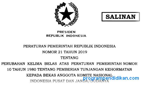 PP No 21 Tahun 2019 Tentang Pemberian Tunjangan Kehormatan Bekas Anggota KNIP
