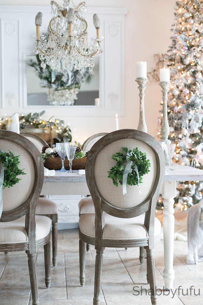 french country chairs with boxwood wreaths