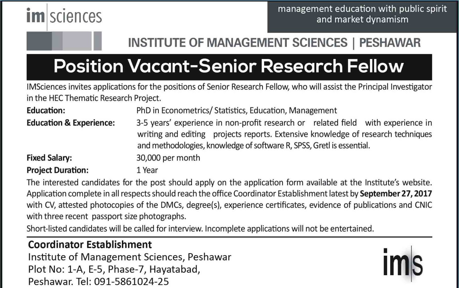 Jobs In Institute Of Management Sciences Peshawar 14 Sep 2017