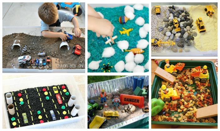 ejemplos de cajas sensoriales para acompañar libros y cuentos de vehículos, transportes