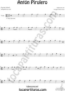 Viola Partitura de Antón Pirulero Sheet Music for Viola Music Score