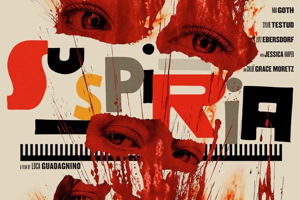 platka filmu - kolorowe litery tytułu i oczy w krwawych plamach