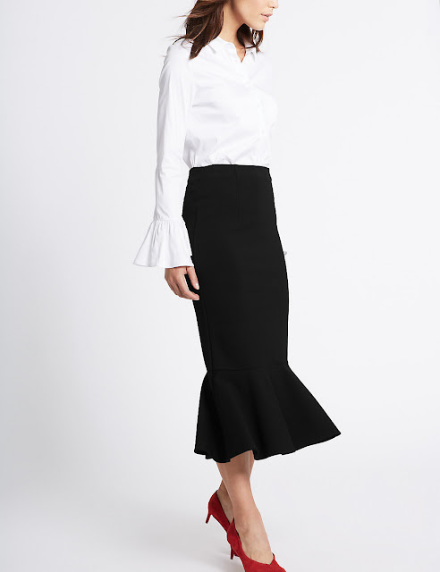 black midi fishtail skirt