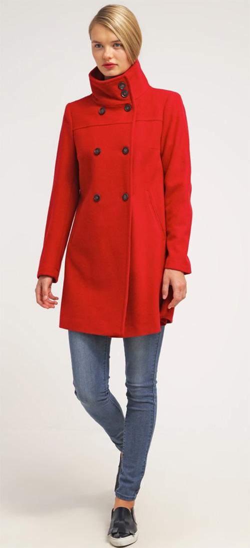 manteau femme rouge en laine benetton. Black Bedroom Furniture Sets. Home Design Ideas