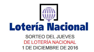 loteria nacional del jueves 1 de diciembre de 2016