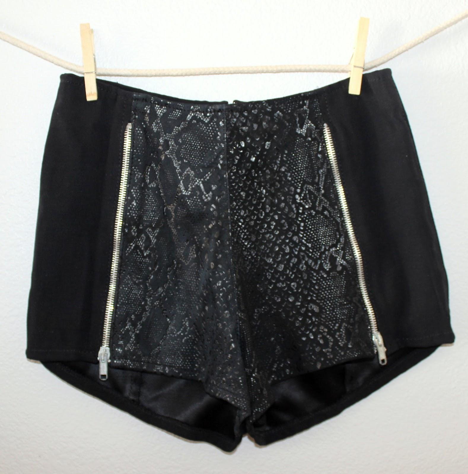 thrifted black cheetah shorts