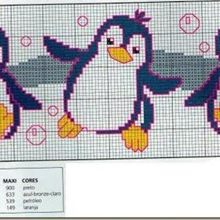 Esquema pinguino punto cruz.