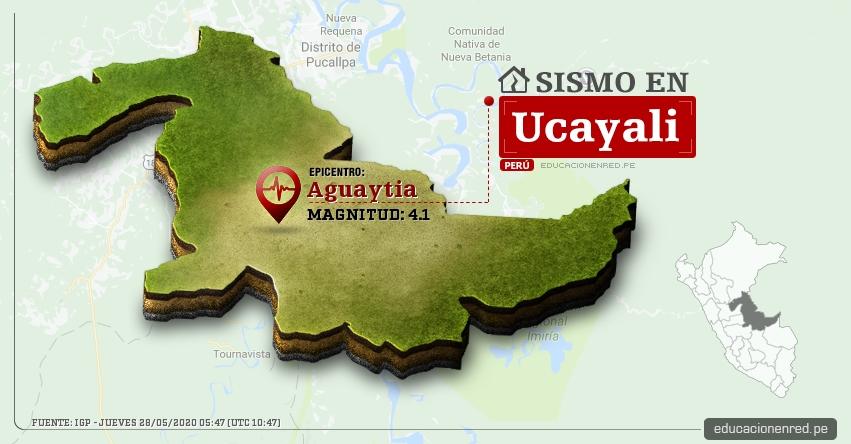 Temblor en Ucayali de Magnitud 4.1 (Hoy Jueves 28 Mayo 2020) Sismo - Epicentro - Aguaytia - Padre Abad - IGP - www.igp.gob.pe