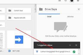 tampilan proser upload google drive selesai
