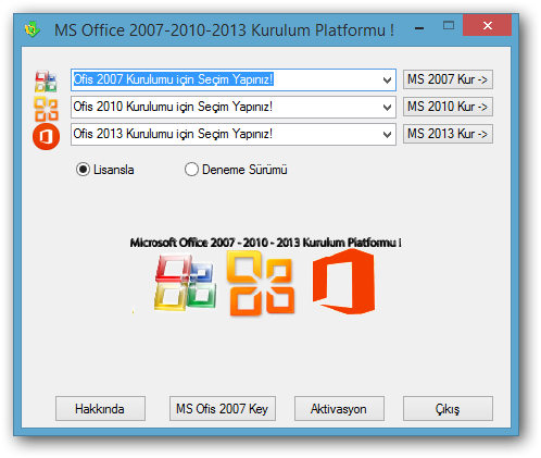 Microsoft Office Paket 2007 - 2010 - 2013 TR - All in One Program
