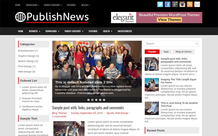 PublishNews Free Blogger Template
