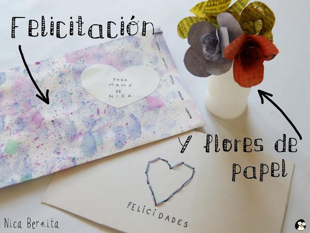 felicitación para el día de la madre y flores de papel o rosas Nica Bernita