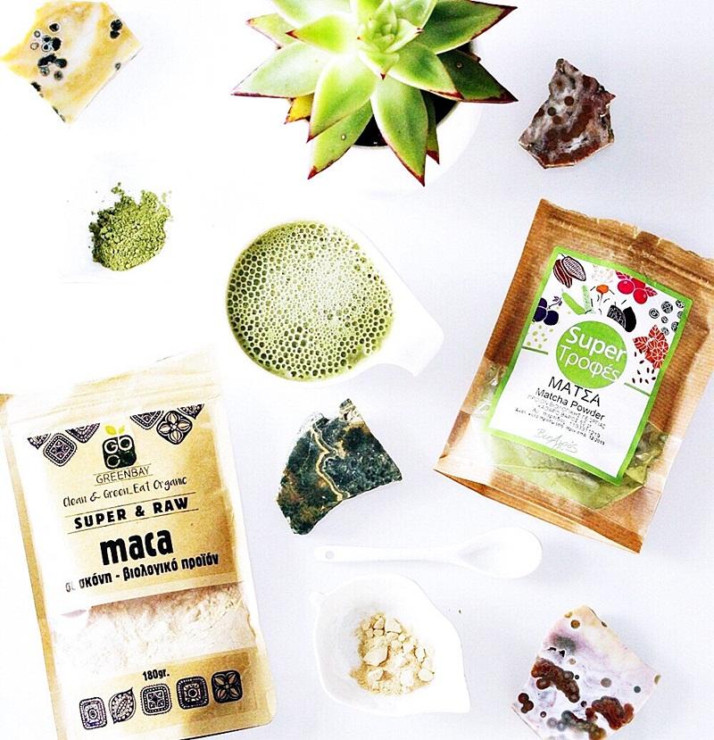 how to make matcha and maca organic latte, βιολογικά προϊόντα στην Ελλάδα