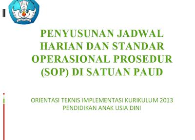 Menyusun Jadwal Harian dan SOP PAUD Kurikulum 2013 PPT Lengkap Terbaru 2016