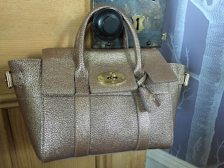 Mulberry Mini Bayswater Buckle in Metallic Mushroom