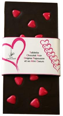 tablette chocolat noir Papouasie avec mini coeur