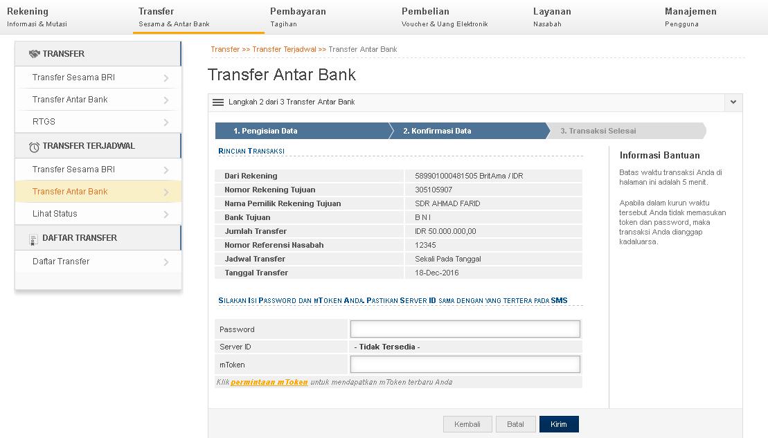 Cara Transfer Uang BRI Lewat Internet Banking | Panduan ...